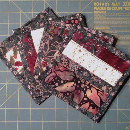 photo of Strip Pieced Mini Quilt Coasters