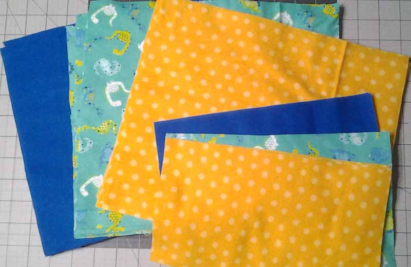 photo of Flannel baby rag quilt brick pattern with rectangle blocks