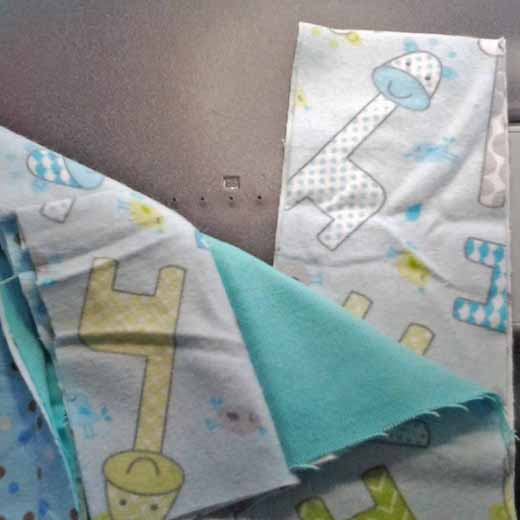 photo of how to Attach Rag quilt border strips with right sides facing outward