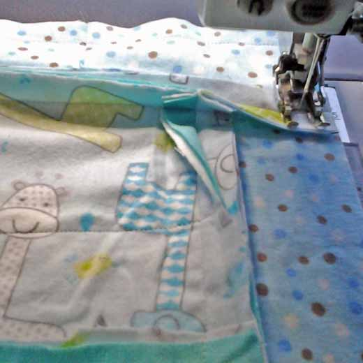 photo of how to Sew cut corner strips for a Rag Quilt
