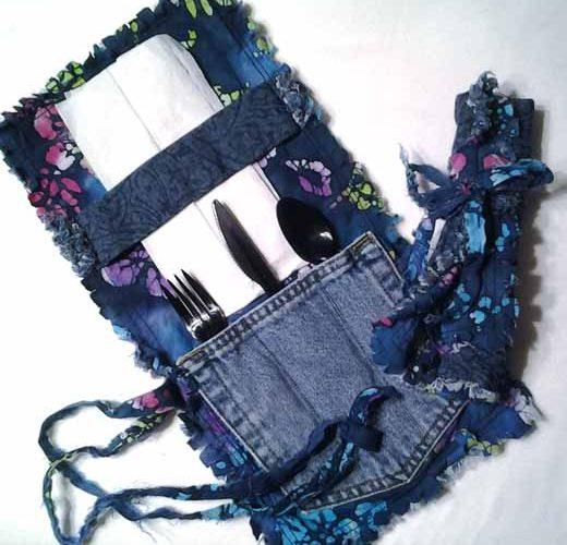 photo of Blue Jean Pocket Rag Quilt Flatware Pocket Roll