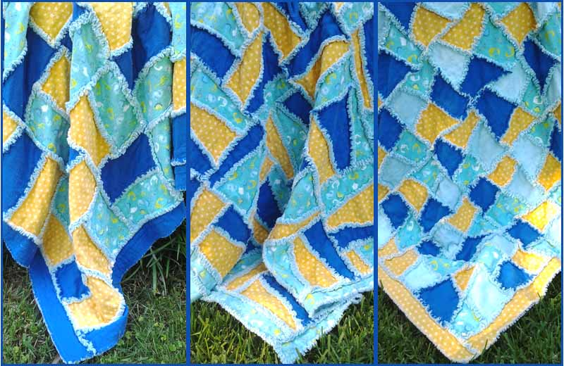 photo of TRIO of 10 inch flannel rag quilts