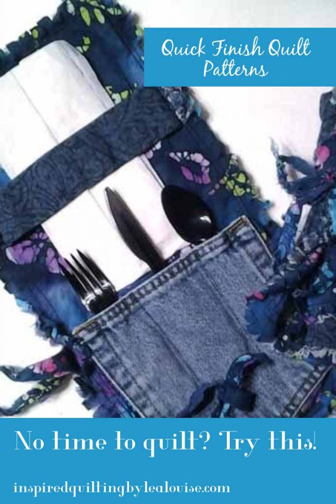 photo of blue jean pocket mini rag quilt pin