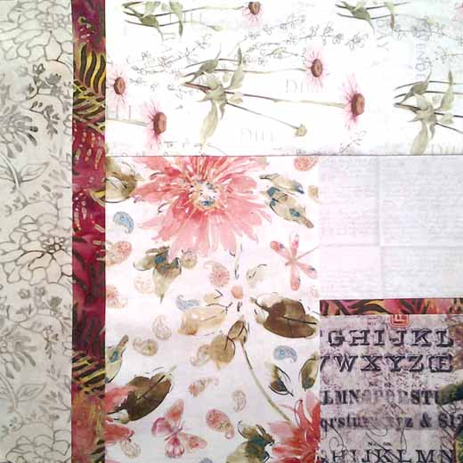 photo of Finished modern low volume & batik quilt block