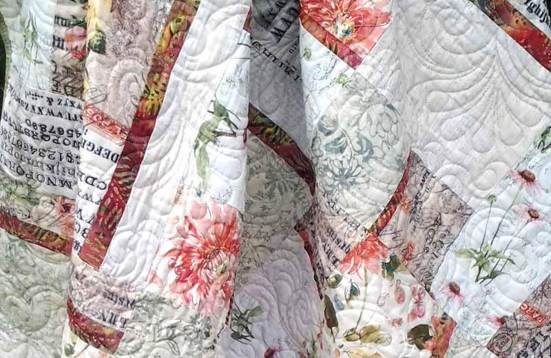 photo of Low Volume & Batik Quilt in Floral Fabrics Modern Fat Quarter Quilting Low Volume Batik Fabrics