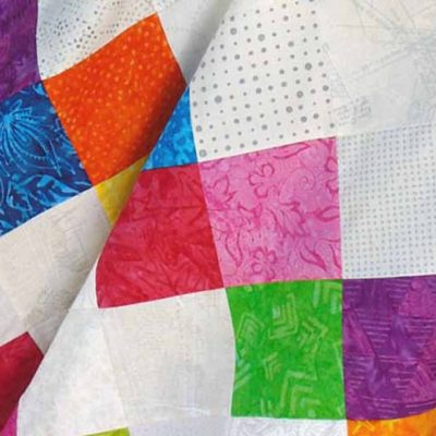 Bold, Bright, & Beautiful Batik-Low Volume Baby Quilt