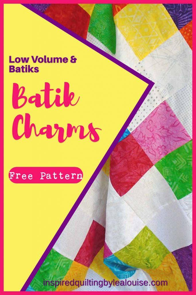 photo of Batik Charm Squares & Low Volume Baby Quilt