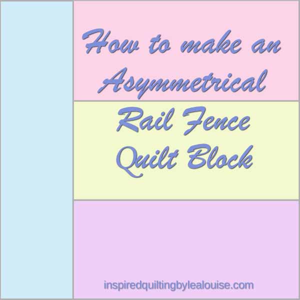 image of Asymmetrical Rail Fence Quilt Block made with Charm Squares