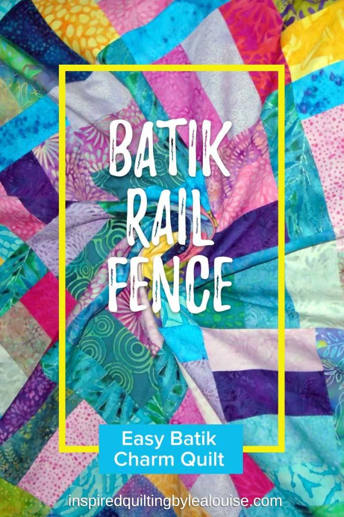 Photo of Asymmetrical Batik Charms Rail Fence Quilt Pin