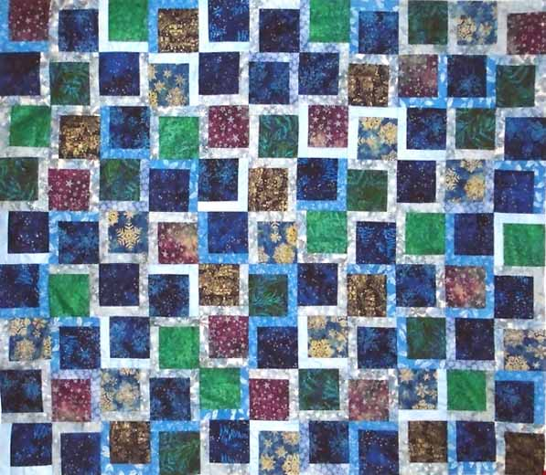 photo of Batik Charmed Blue Holiday Quilt