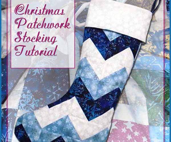photo of blue & white Batik Chevron Christmas Stocking