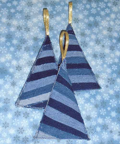 image of Denim christmas tree ornaments