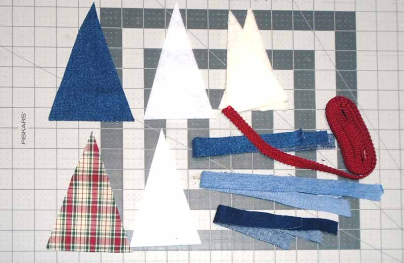 image of all cut pattern pieces for Denim Christmas Tree Ornament