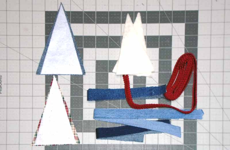 image of how to Trim Fusible Fleece & Batting for blue jean Christmas Tree Ornament