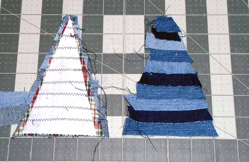 Image of Denim Christmas Tree Ornament before edge trimming