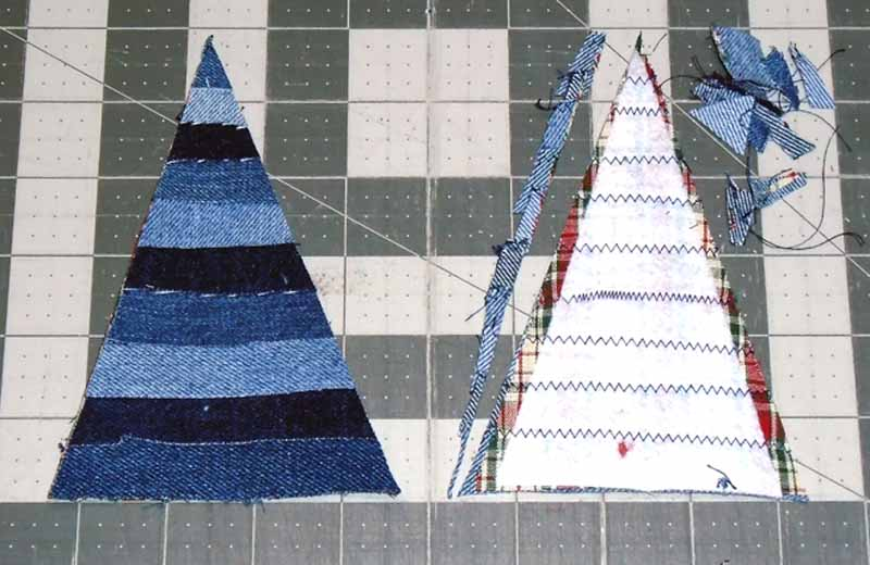 image of Trimming Denim Christmas Tree Ornament from the wrong side