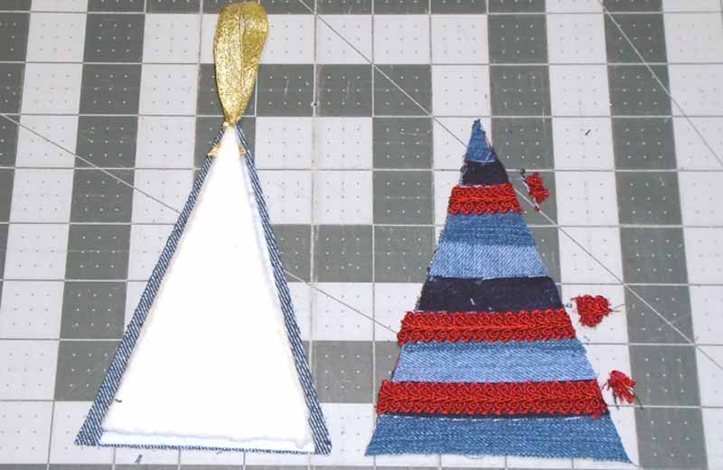 image of Blue Jean Christmas Tree Ornament Assembly Layers