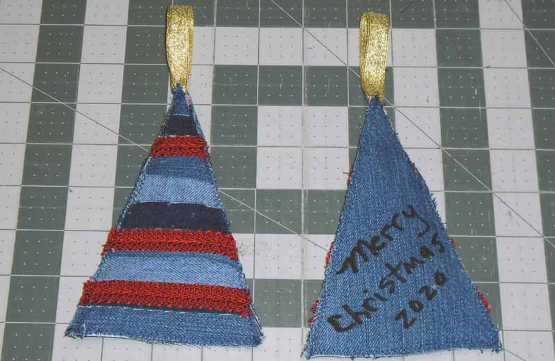image of Denim Christmas Tree Ornament Step 9 Trim Edges