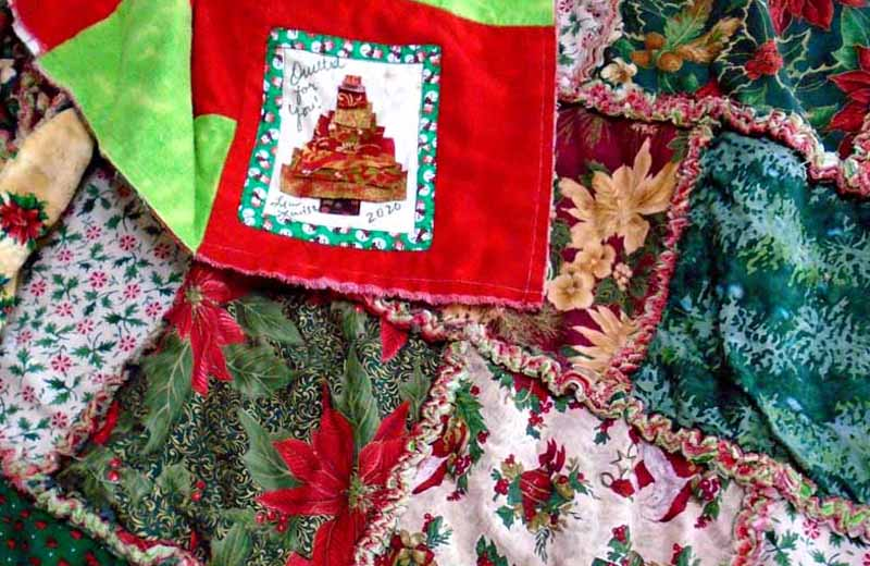 photo of A Christmas Rag Quilt with Personalized Label