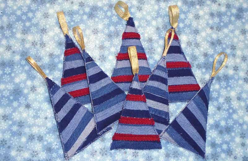 image of blue jean christmas tree ornaments