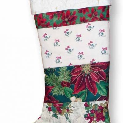 image of quilted red christmas stocking