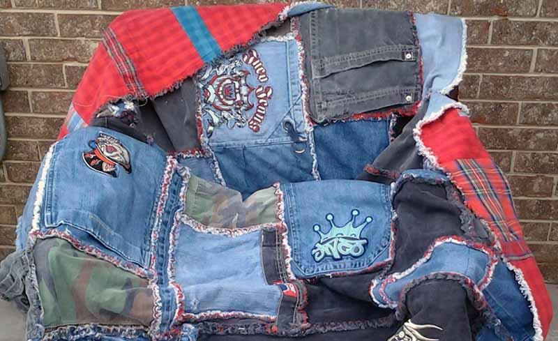 image of denim rag quilt from blue jeans