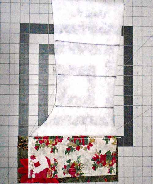 photo of Red Christmas Stocking assembly sew 2nd strip in place