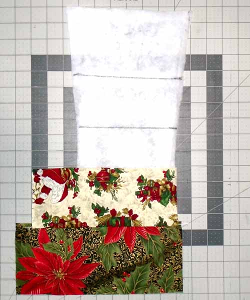 photo of Red Christmas Stocking assembly open 2nd strip and press to secure in place