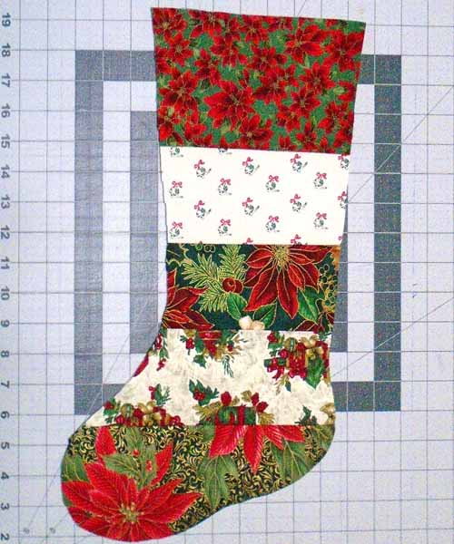 photo of Finished Red Christmas Stocking front ready for final assembly