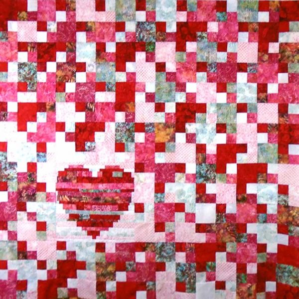 image of Heart Strings 4-Patch Lap Quilt