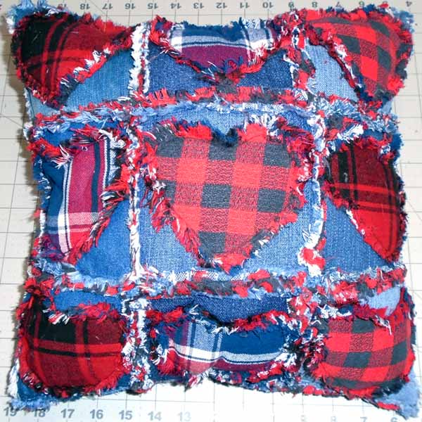image of Finished Valentine Blue Jean Rag Quilt Pillow