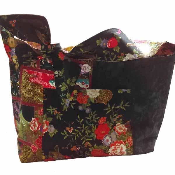 image of Asian fabric DIY Reversible Hobo Bag