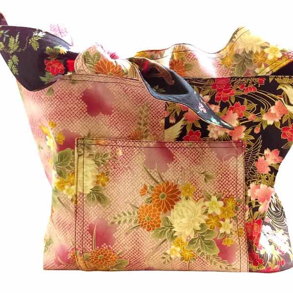 image of pink asian fabric DIY Reversible Hobo Bag