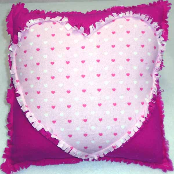 image of flannel rag quilt heart pillow