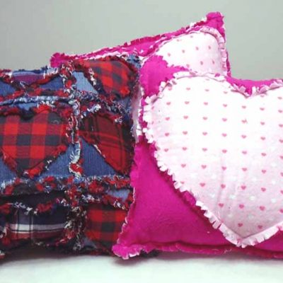 image of Flannel & Denim Rag Quilt Heart Pillows