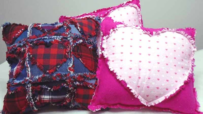 How to Make A Blue Jean Rag Quilt Valentine Pillow