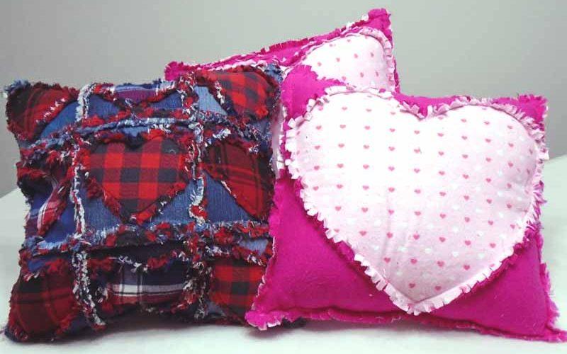 image of Flannel & Denim Rag Quilt Heart Pillows