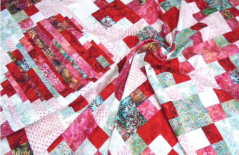image of heart strings 4-patch quilt