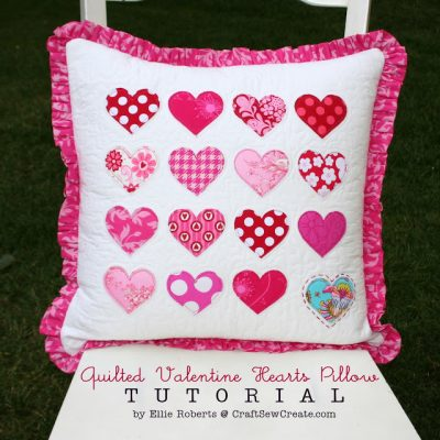 image of Quilted Valentine Hearts Pillow Tutorial