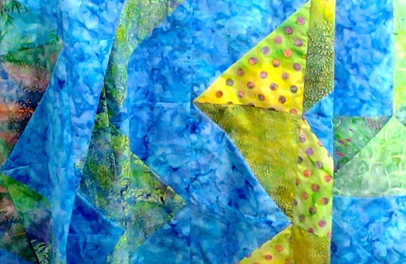 image of Modern Fat Quarter Quilt Half Square Triangle Batik Chevron Tutorial