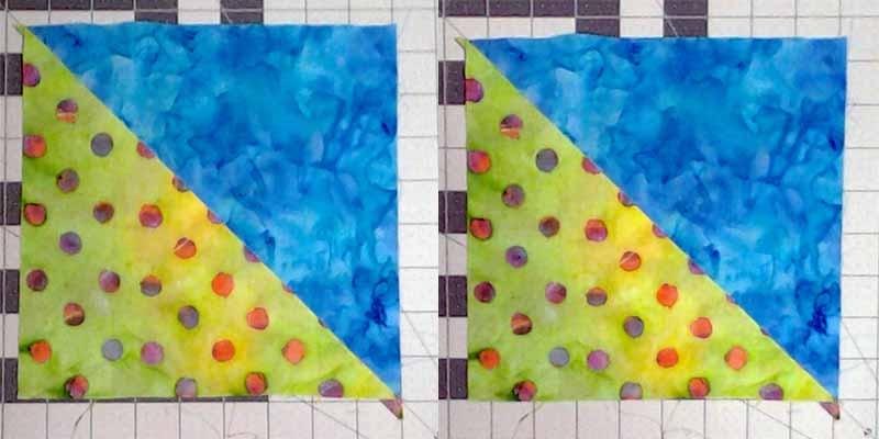 image of prepared Batik half square triangle