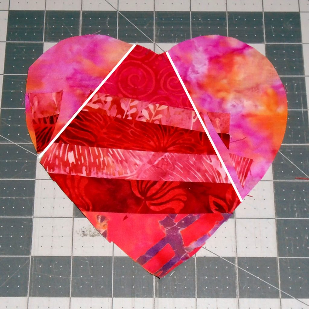 image of Valentine Mug Rug 3 Complete Center Section and Trim Edges Even