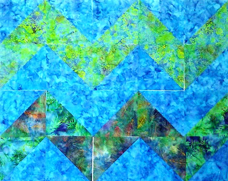 image of block layout for Batik Quilt Chevron HST Tutorial