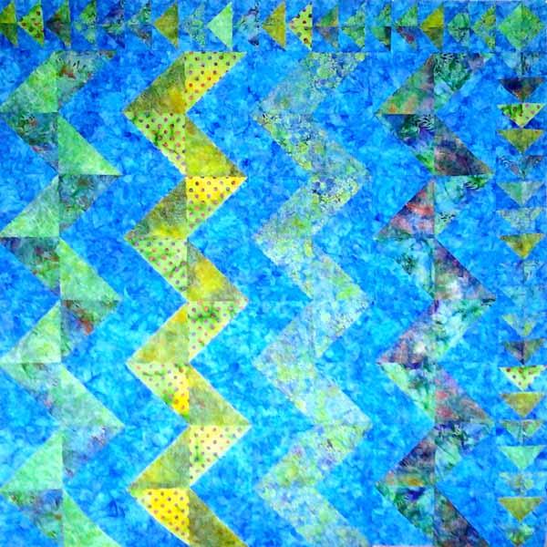 image of Batik Chevron HST Quilt with Batik Flying Geese Border