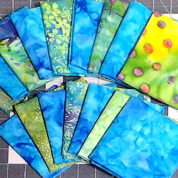 image of fabric selection fo Batik Modern Fat Quarter Quilting Half Square Triangle