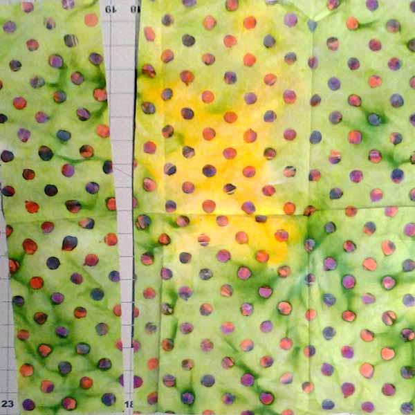 image of cutting Batik Fat Quarter Quilt Half Square Triangle Quilt Tutorial