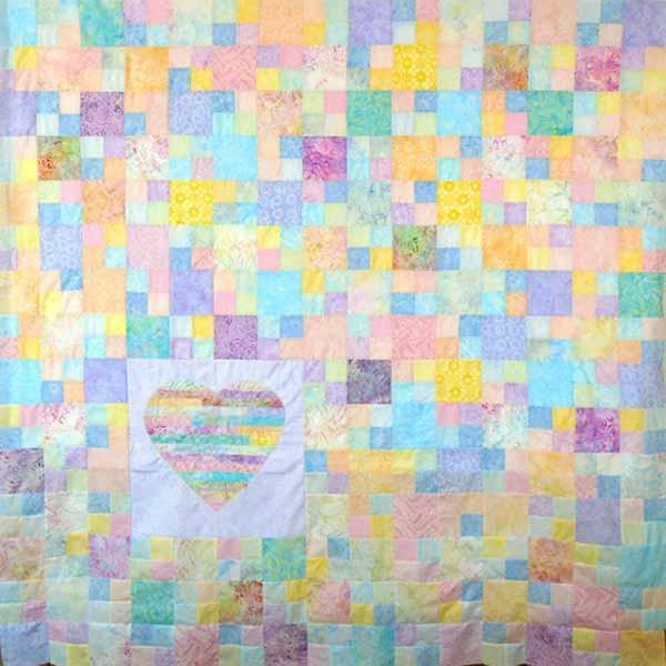 image of Batik Heart Strings Quilt Full Size