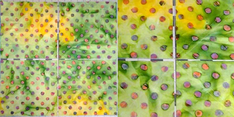 image of _Batik Magic 8 half square triangle tutorial wCloseup of sewing & cutting diagram