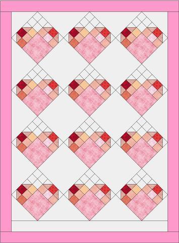 image of Valentine HST Quilt Block