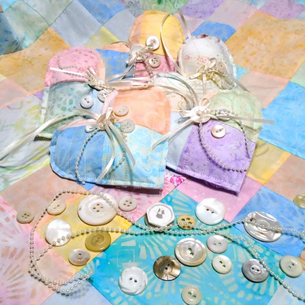 image of Collection of Quitled Fabric Hearts Embellished with Vintage Buttons